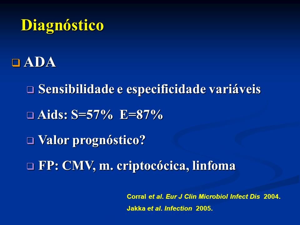Diagnóstico ADA Sensibilidade e especificidade variáveis