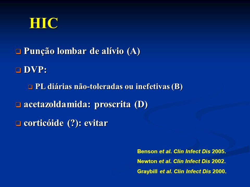 HIC Punção lombar de alívio (A) DVP: acetazoldamida: proscrita (D)