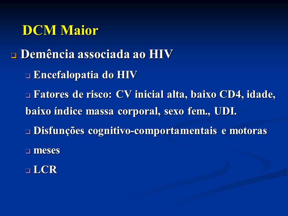 DCM Maior Demência associada ao HIV Encefalopatia do HIV