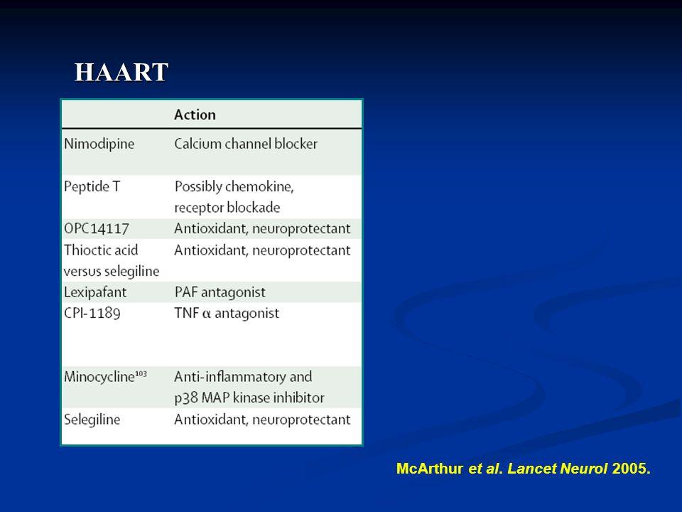 HAART McArthur et al. Lancet Neurol 2005.
