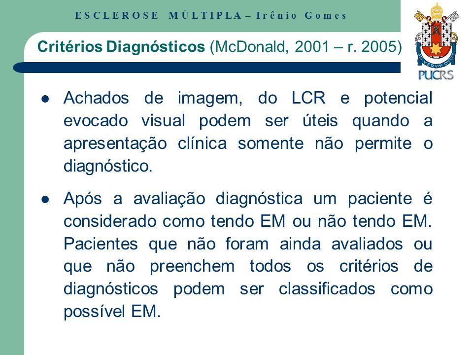 Critérios Diagnósticos (McDonald, 2001 – r. 2005)