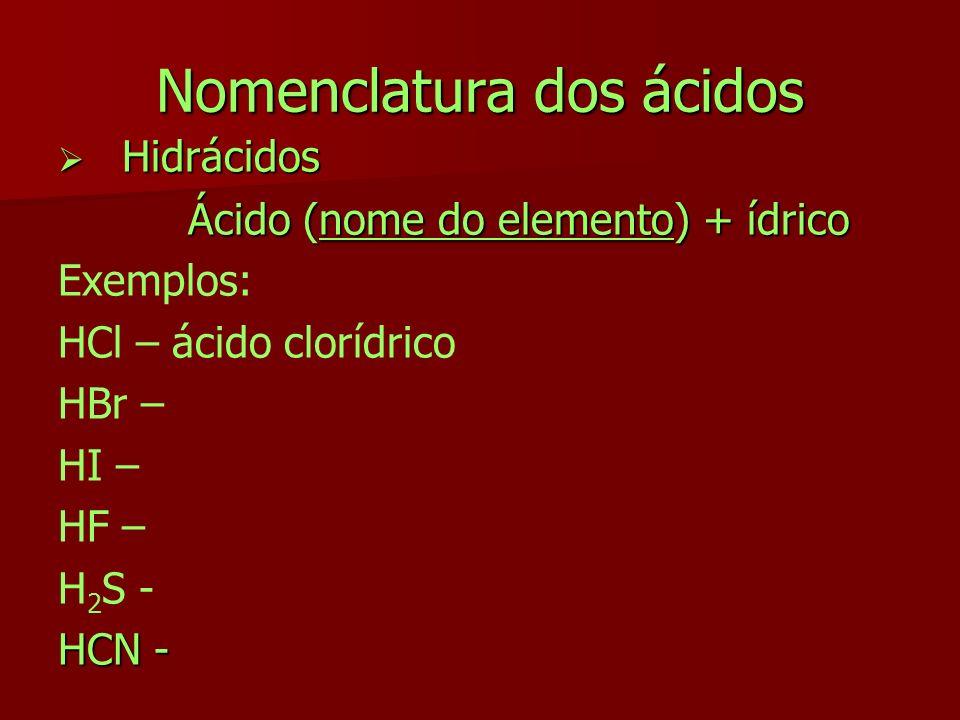 Nomenclatura dos ácidos