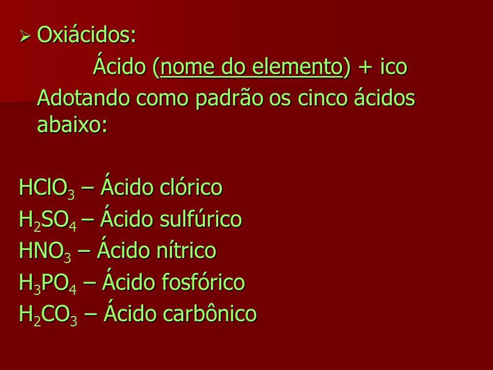Ácido (nome do elemento) + ico