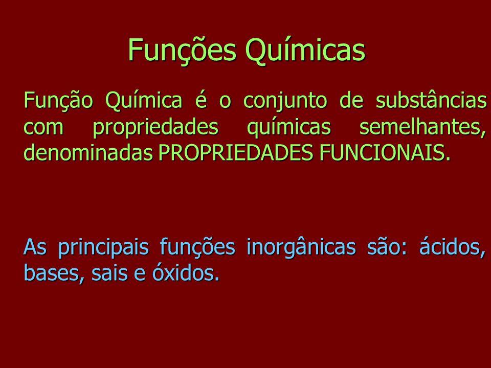 Funções Químicas Função Química é o conjunto de substâncias com propriedades químicas semelhantes, denominadas PROPRIEDADES FUNCIONAIS.