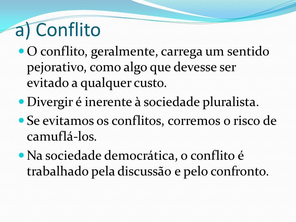 a) Conflito O conflito, geralmente, carrega um sentido pejorativo, como algo que devesse ser evitado a qualquer custo.