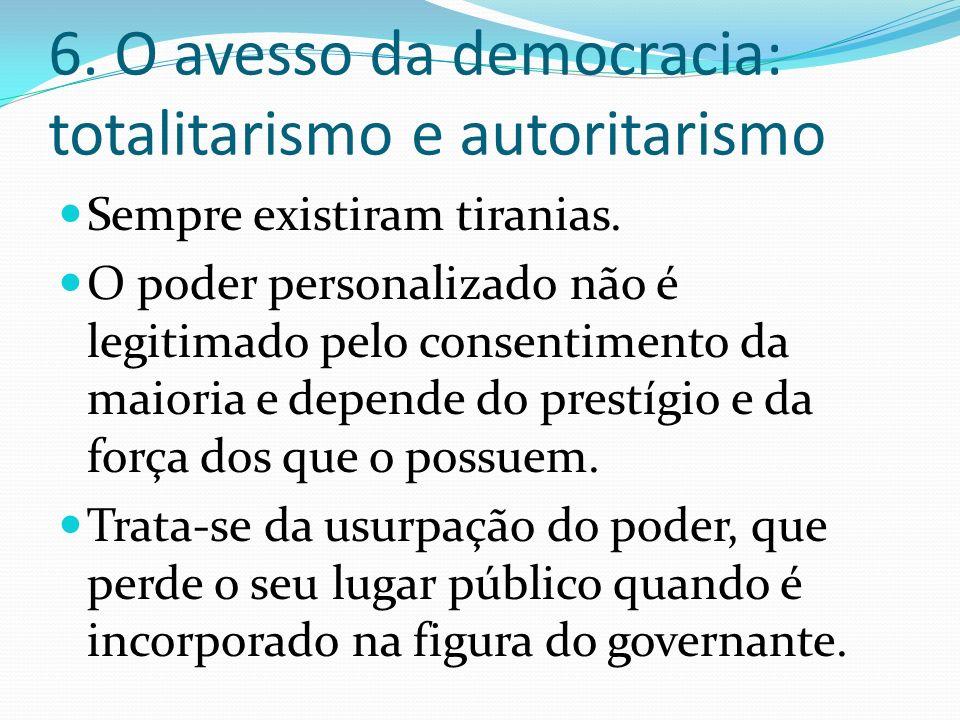 6. O avesso da democracia: totalitarismo e autoritarismo
