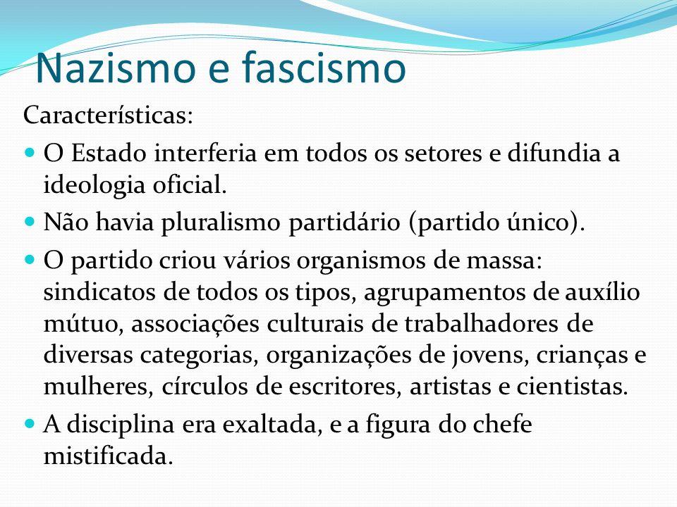 Nazismo e fascismo Características: