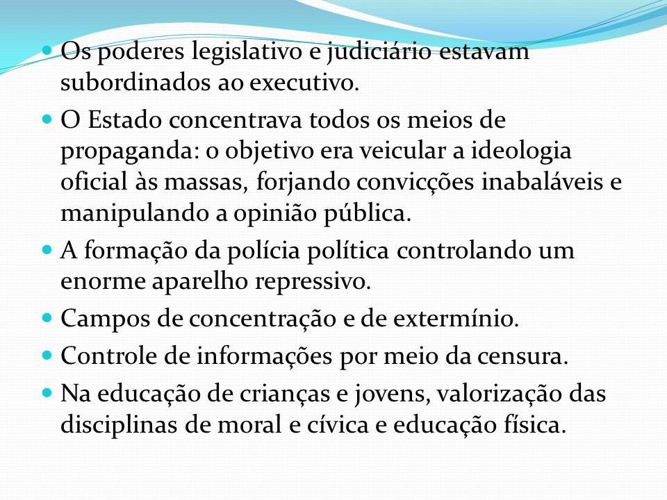 Os poderes legislativo e judiciário estavam subordinados ao executivo.