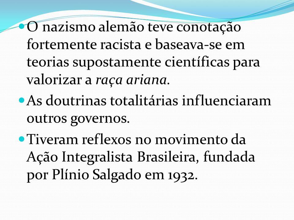 O nazismo alemão teve conotação fortemente racista e baseava-se em teorias supostamente científicas para valorizar a raça ariana.