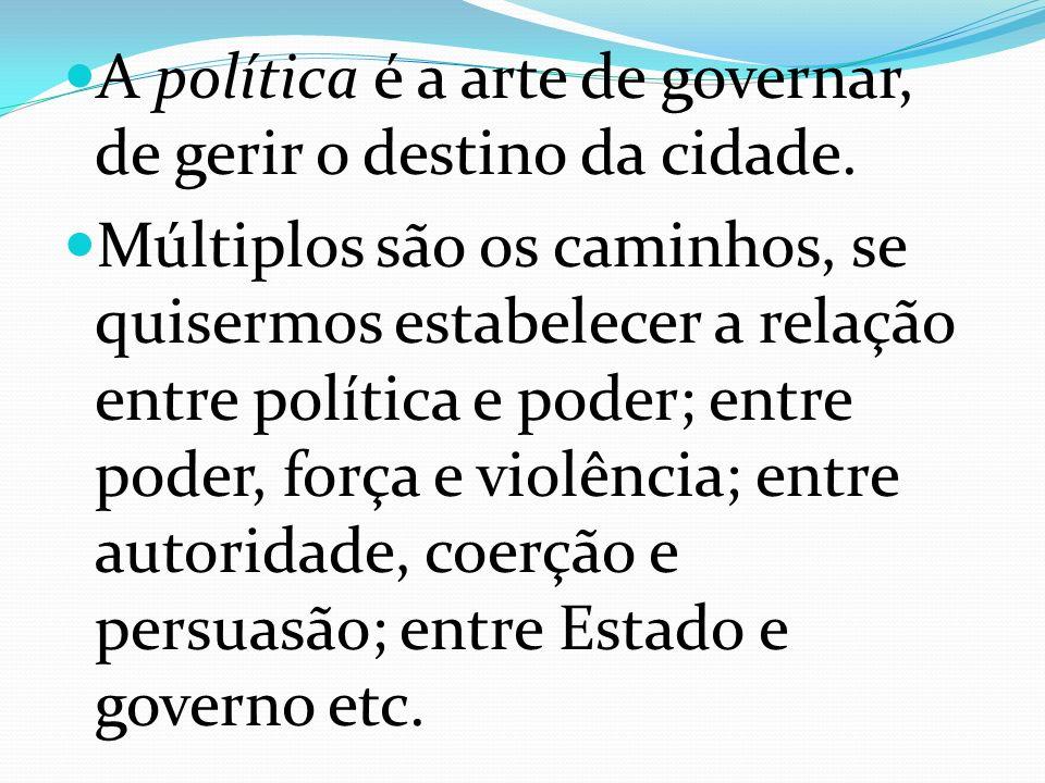 A política é a arte de governar, de gerir o destino da cidade.