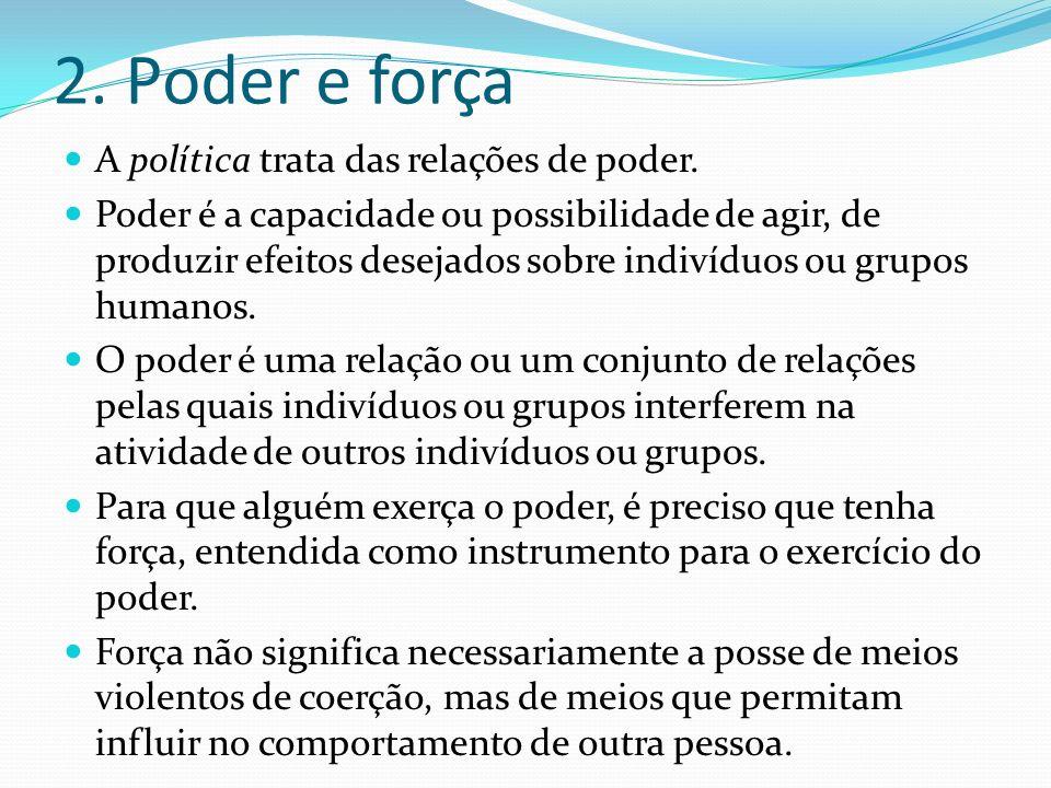 2. Poder e força A política trata das relações de poder.
