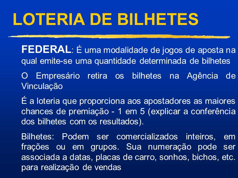 LOTERIA DE BILHETES FEDERAL: É uma modalidade de jogos de aposta na qual emite-se uma quantidade determinada de bilhetes.