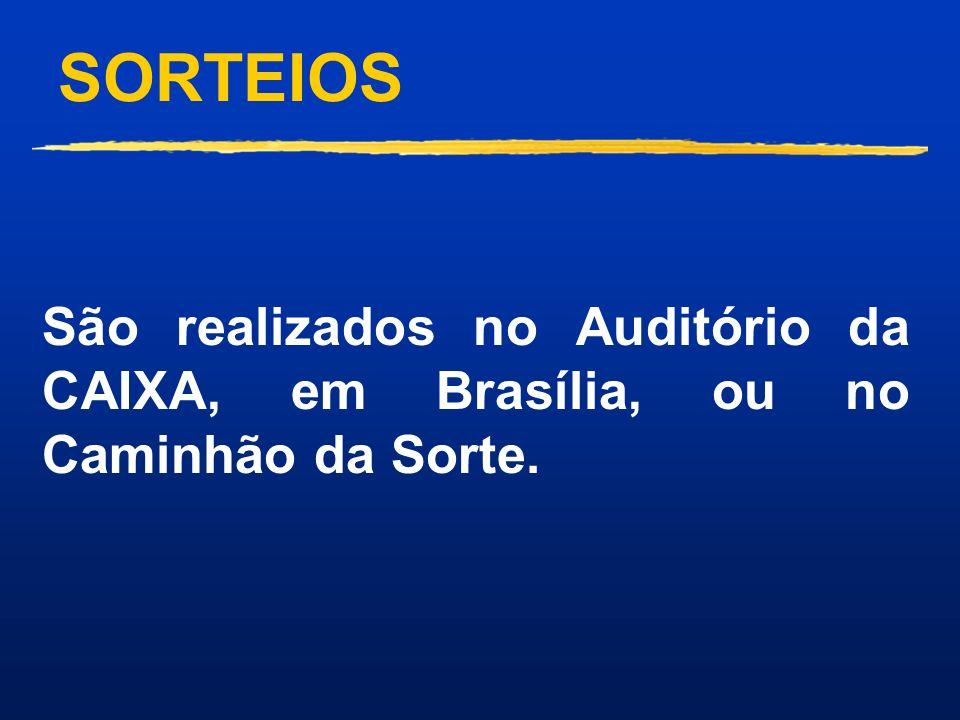 SORTEIOS São realizados no Auditório da CAIXA, em Brasília, ou no Caminhão da Sorte.