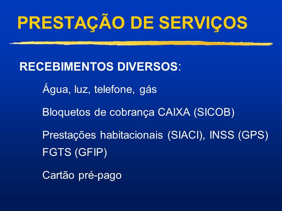 PRESTAÇÃO DE SERVIÇOS RECEBIMENTOS DIVERSOS: Água, luz, telefone, gás