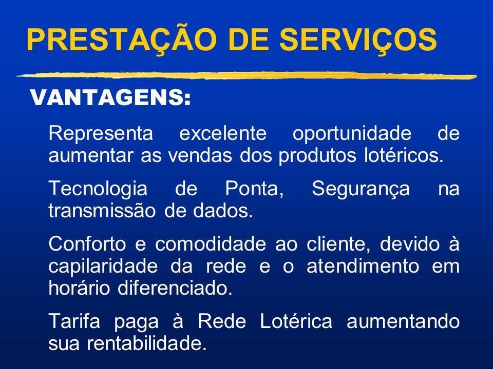 PRESTAÇÃO DE SERVIÇOS VANTAGENS: