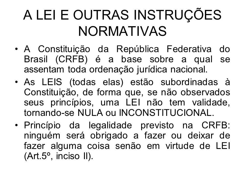 A LEI E OUTRAS INSTRUÇÕES NORMATIVAS