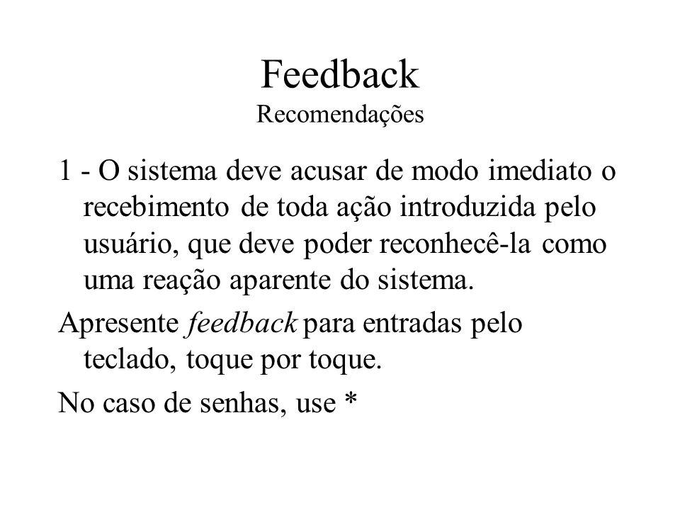 Feedback Recomendações