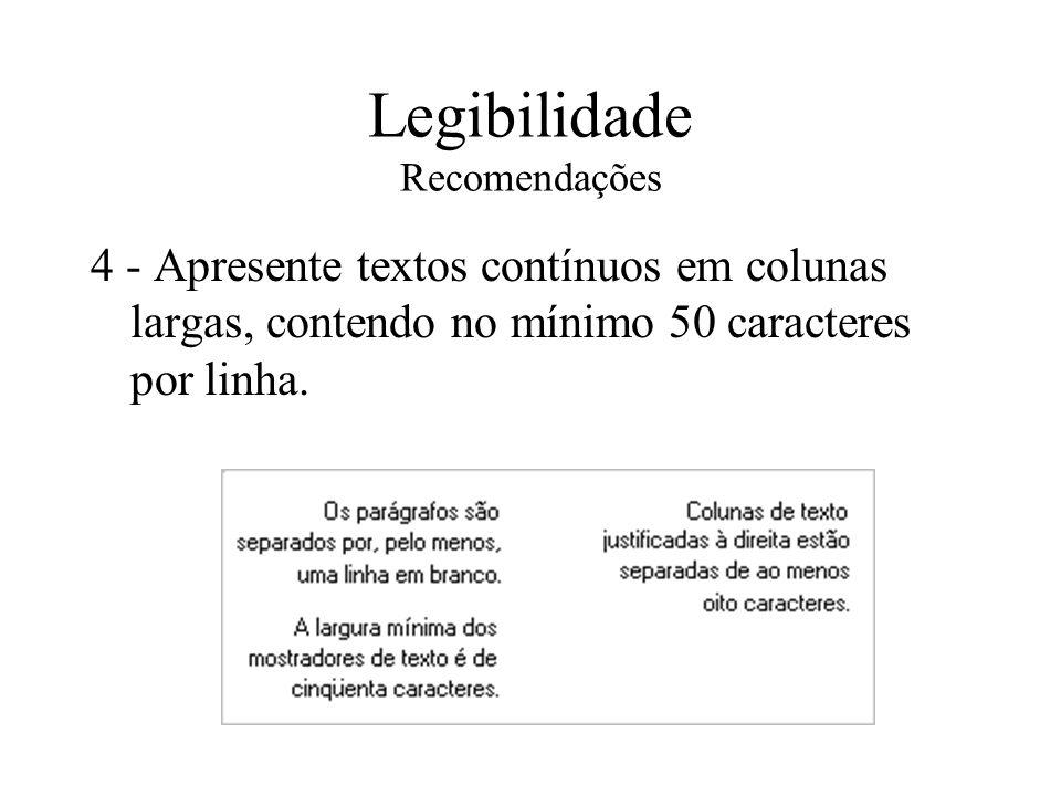 Legibilidade Recomendações