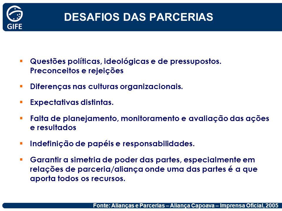 DESAFIOS DAS PARCERIAS