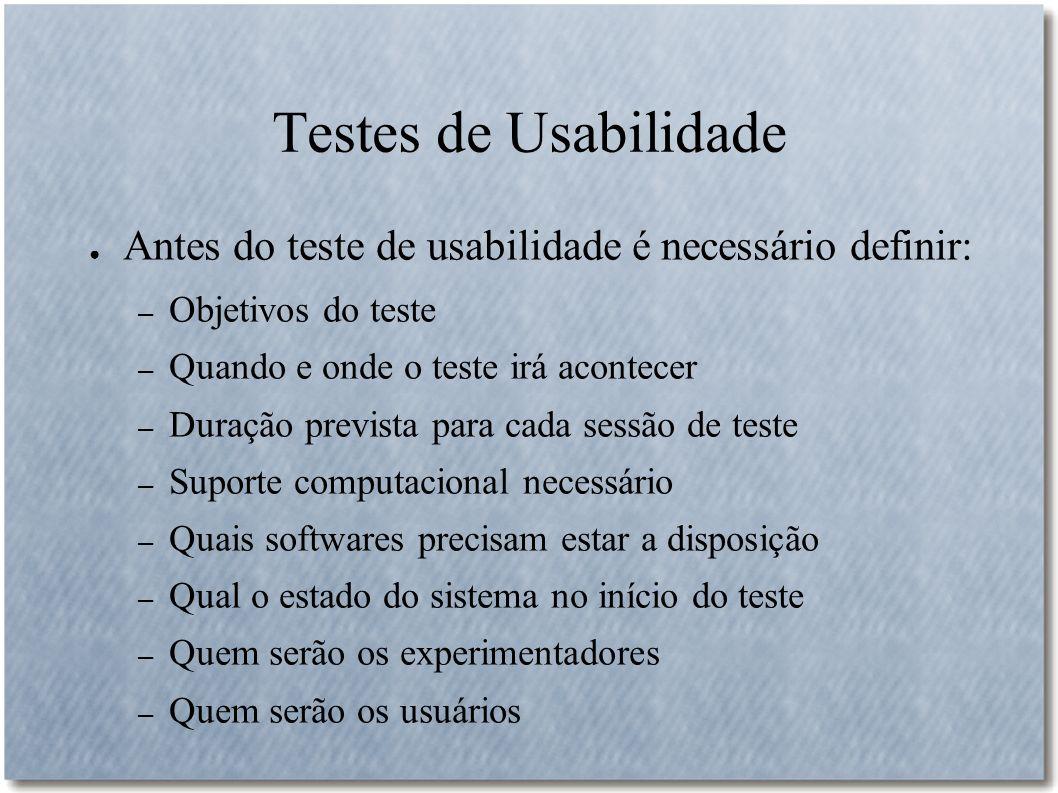 Testes de Usabilidade Antes do teste de usabilidade é necessário definir: Objetivos do teste. Quando e onde o teste irá acontecer.