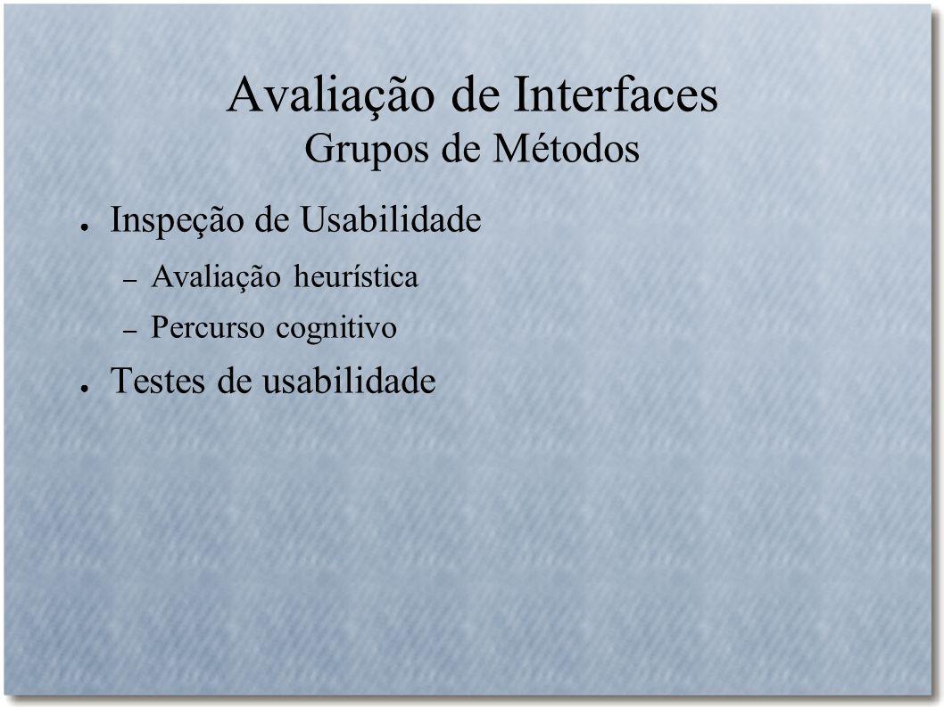 Avaliação de Interfaces Grupos de Métodos