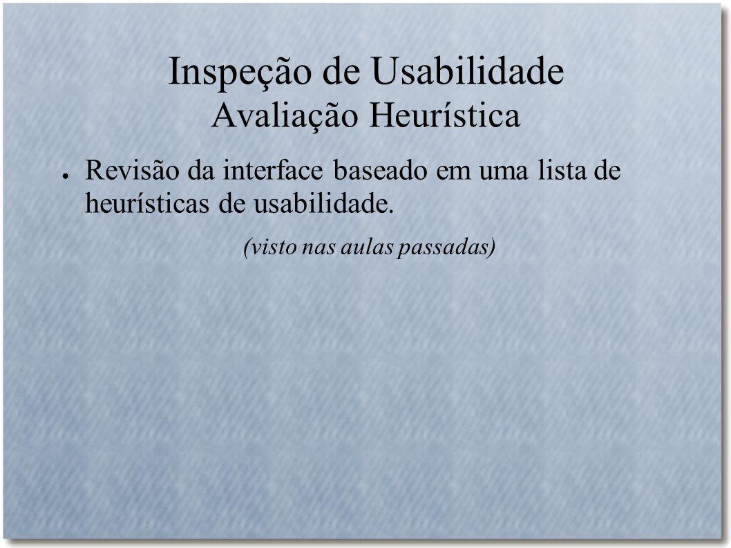 Inspeção de Usabilidade Avaliação Heurística