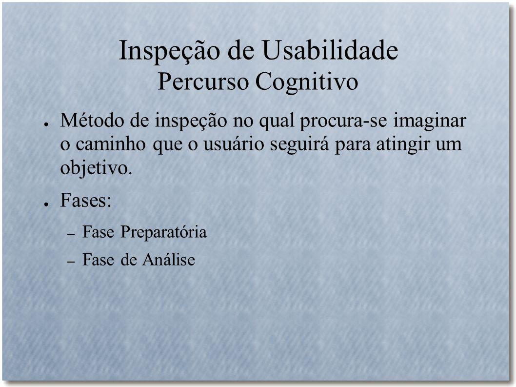 Inspeção de Usabilidade Percurso Cognitivo
