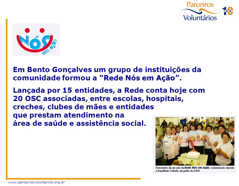 Em Bento Gonçalves um grupo de instituições da comunidade formou a Rede Nós em Ação .