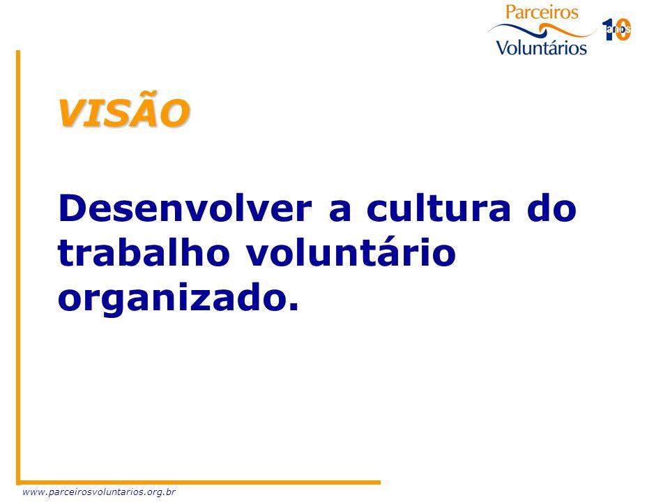 VISÃO Desenvolver a cultura do trabalho voluntário organizado.