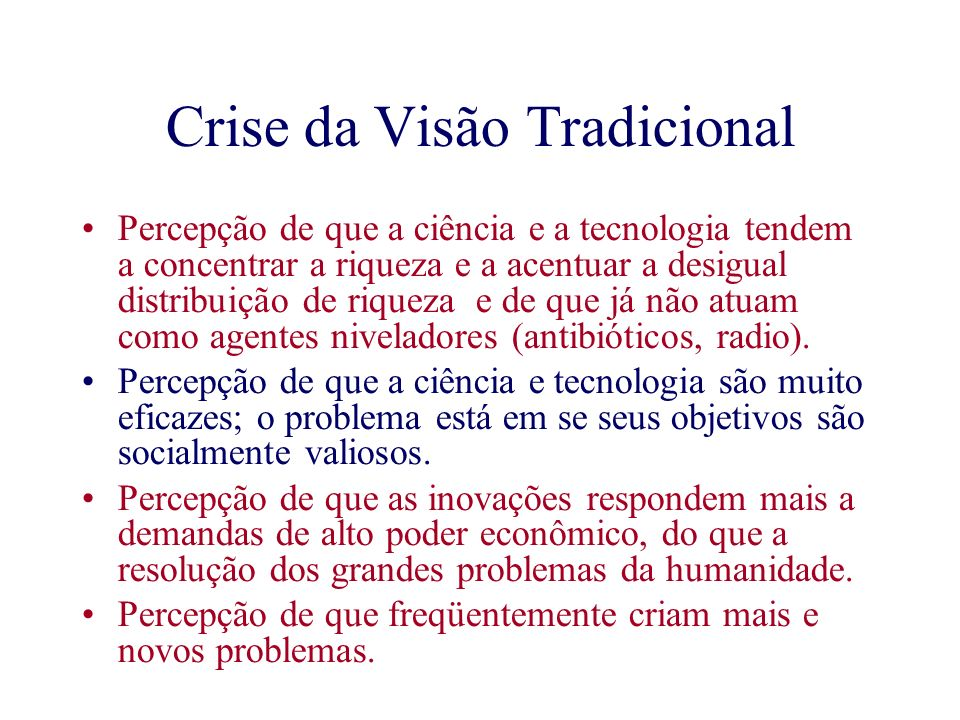 Crise da Visão Tradicional