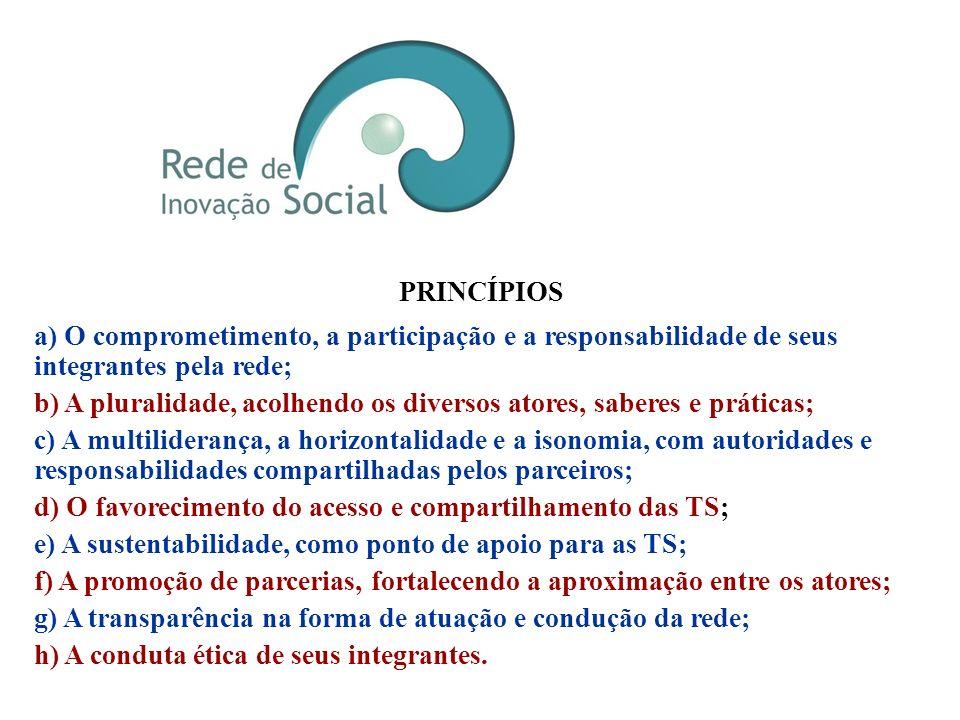 PRINCÍPIOS a) O comprometimento, a participação e a responsabilidade de seus integrantes pela rede;