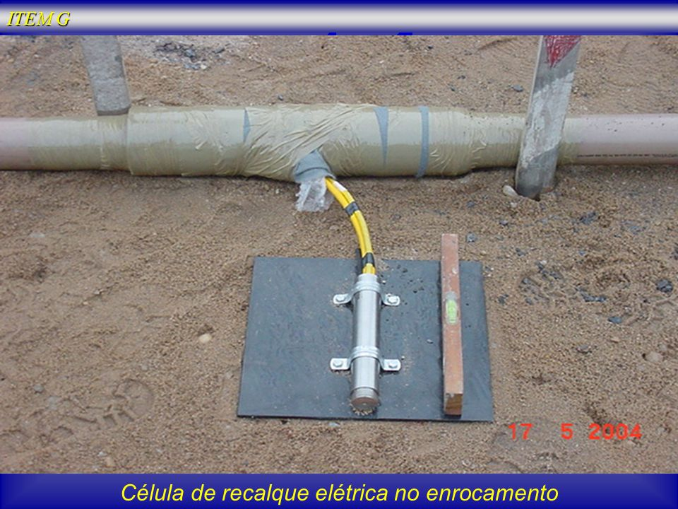 Célula de recalque elétrica no enrocamento