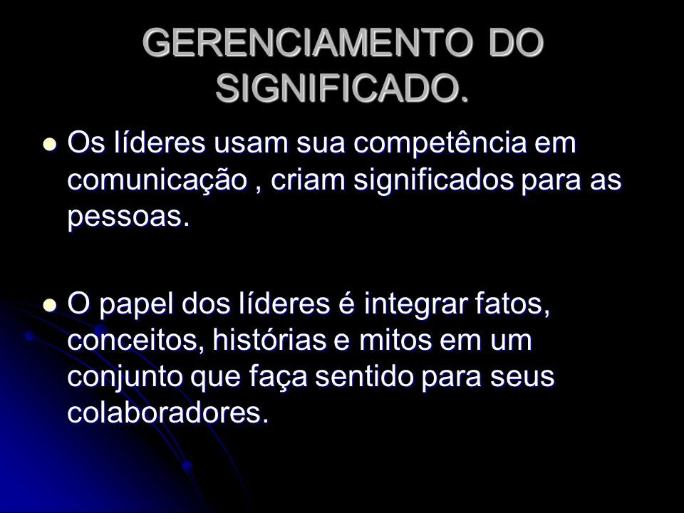 GERENCIAMENTO DO SIGNIFICADO.