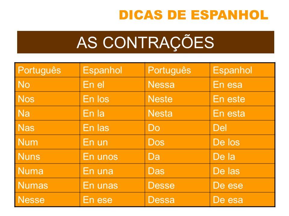 AS CONTRAÇÕES DICAS DE ESPANHOL Português Espanhol No En el Nessa