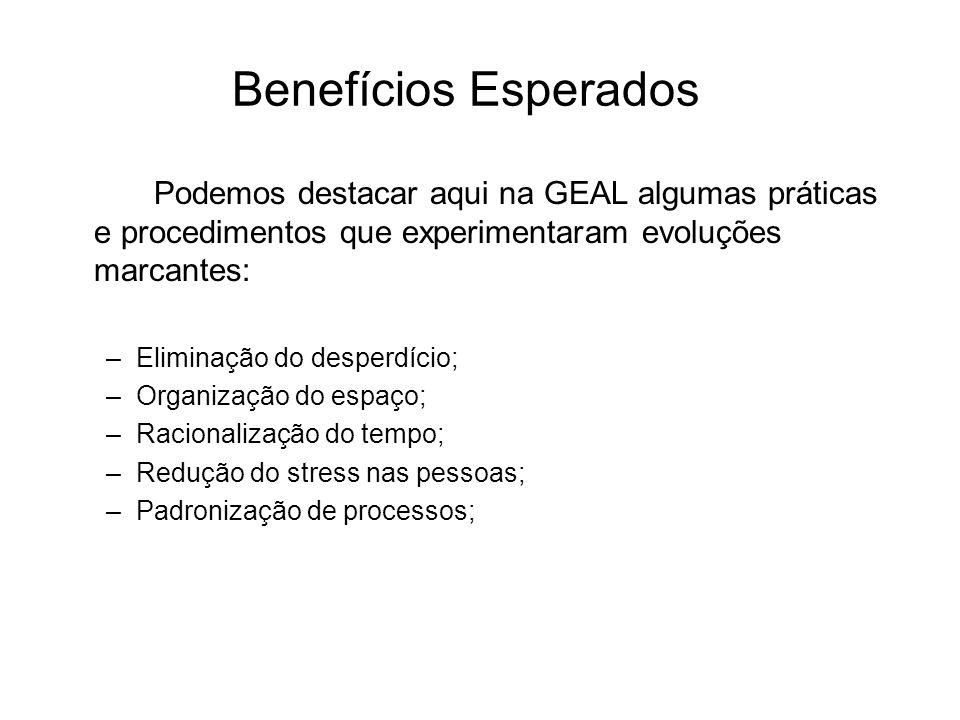 Benefícios Esperados Podemos destacar aqui na GEAL algumas práticas e procedimentos que experimentaram evoluções marcantes: