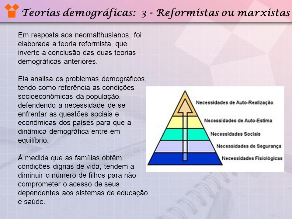 Teorias demográficas: 3 - Reformistas ou marxistas