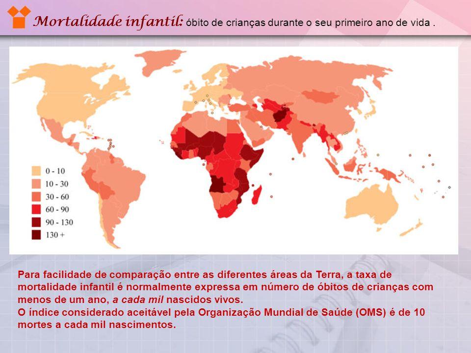 Mortalidade infantil: óbito de crianças durante o seu primeiro ano de vida .