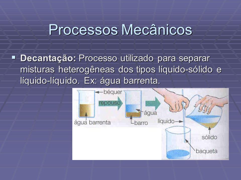 Processos Mecânicos Decantação: Processo utilizado para separar misturas heterogêneas dos tipos líquido-sólido e líquido-líquido.