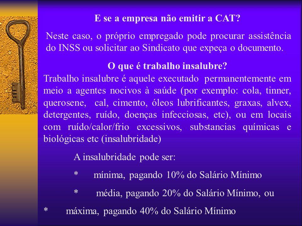 E se a empresa não emitir a CAT O que é trabalho insalubre