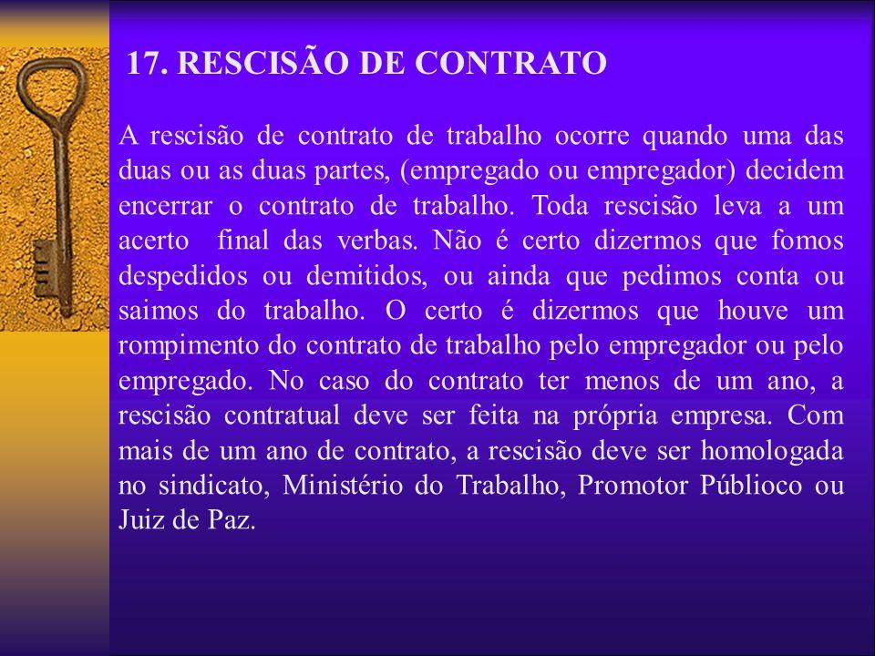 17. RESCISÃO DE CONTRATO