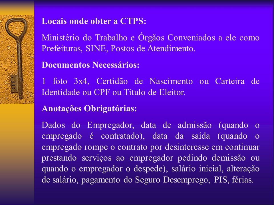 Locais onde obter a CTPS: