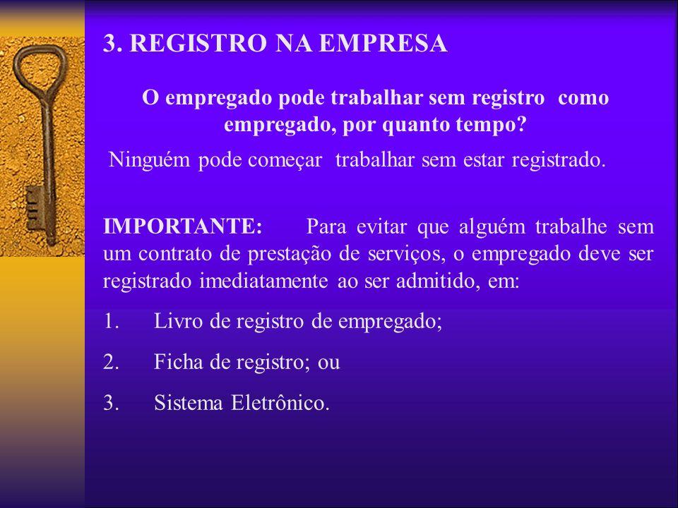3. REGISTRO NA EMPRESA O empregado pode trabalhar sem registro como empregado, por quanto tempo