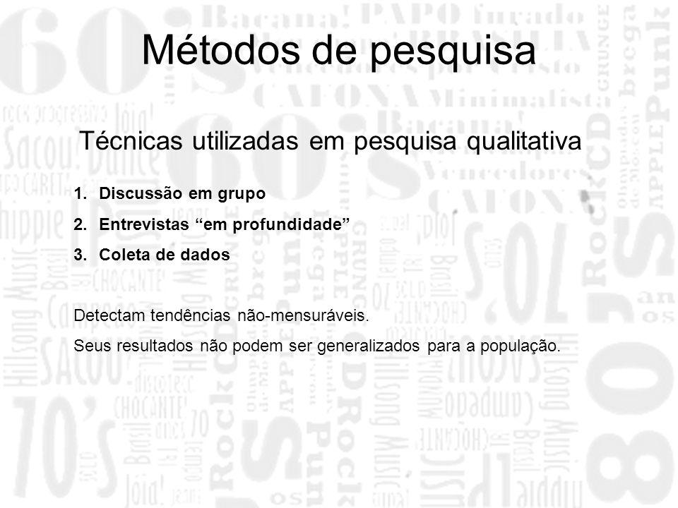 Métodos de pesquisa Técnicas utilizadas em pesquisa qualitativa