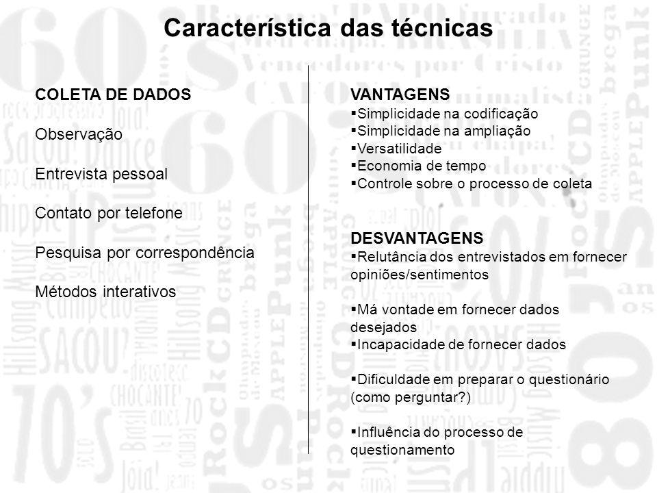 Característica das técnicas