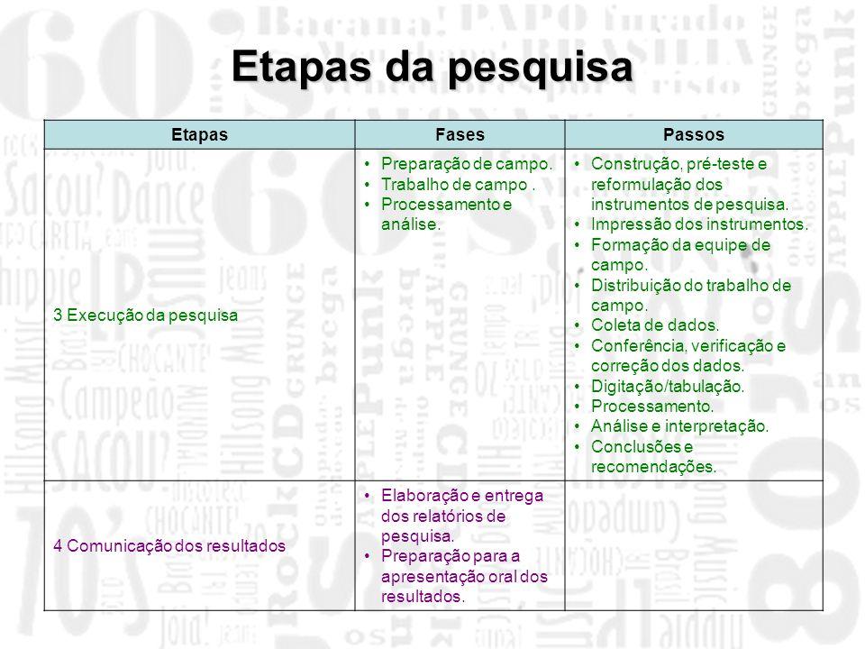 Etapas da pesquisa Etapas Fases Passos 3 Execução da pesquisa