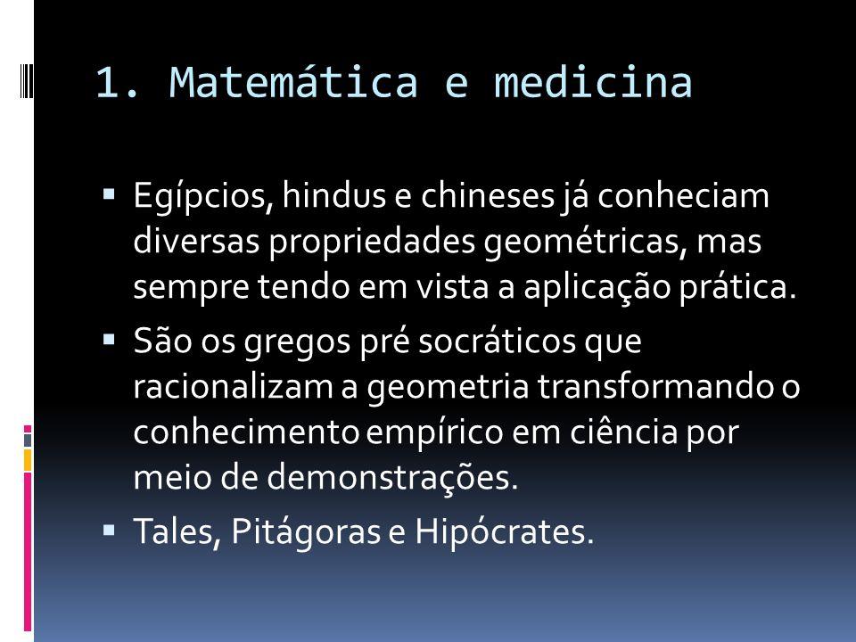1. Matemática e medicina Egípcios, hindus e chineses já conheciam diversas propriedades geométricas, mas sempre tendo em vista a aplicação prática.