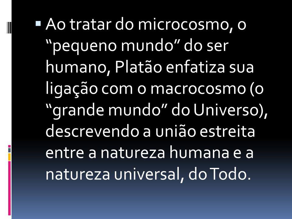 Ao tratar do microcosmo, o pequeno mundo do ser humano, Platão enfatiza sua ligação com o macrocosmo (o grande mundo do Universo), descrevendo a união estreita entre a natureza humana e a natureza universal, do Todo.