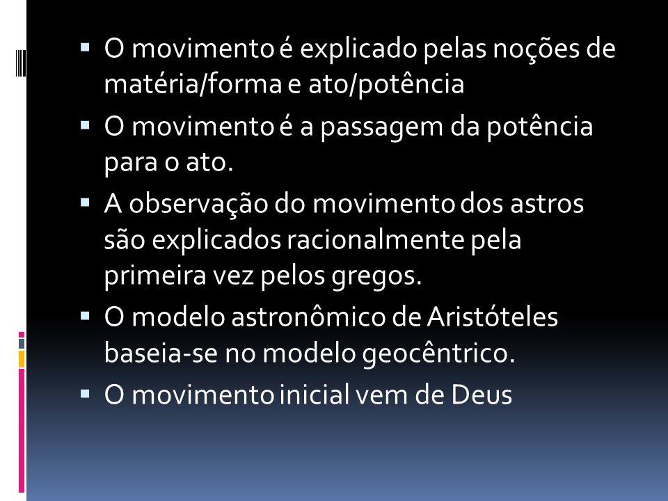 O movimento é explicado pelas noções de matéria/forma e ato/potência