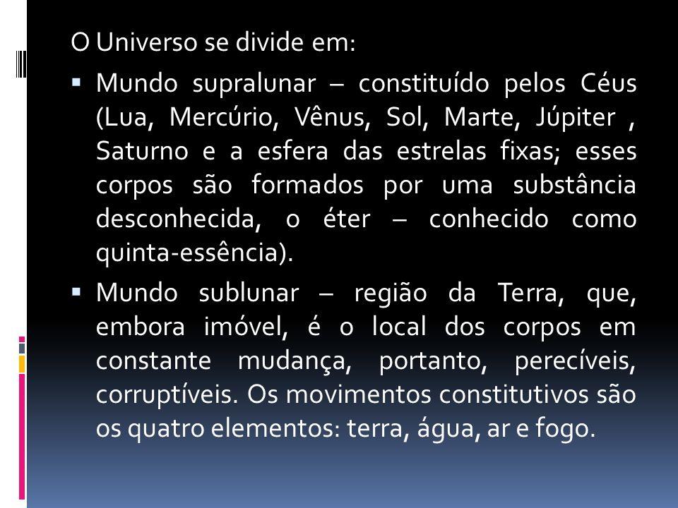O Universo se divide em: