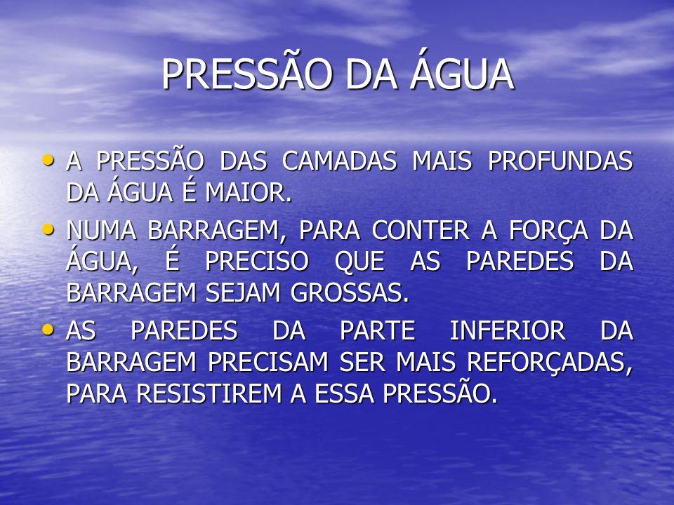 PRESSÃO DA ÁGUA A PRESSÃO DAS CAMADAS MAIS PROFUNDAS DA ÁGUA É MAIOR.
